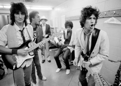 "Waiting to go on with Ron Wood and the New Barbarians, Los Angeles, May 1979, with Joseph ""Zigaboo"" Modeliste, drums, and Stanley Clarke, bass."